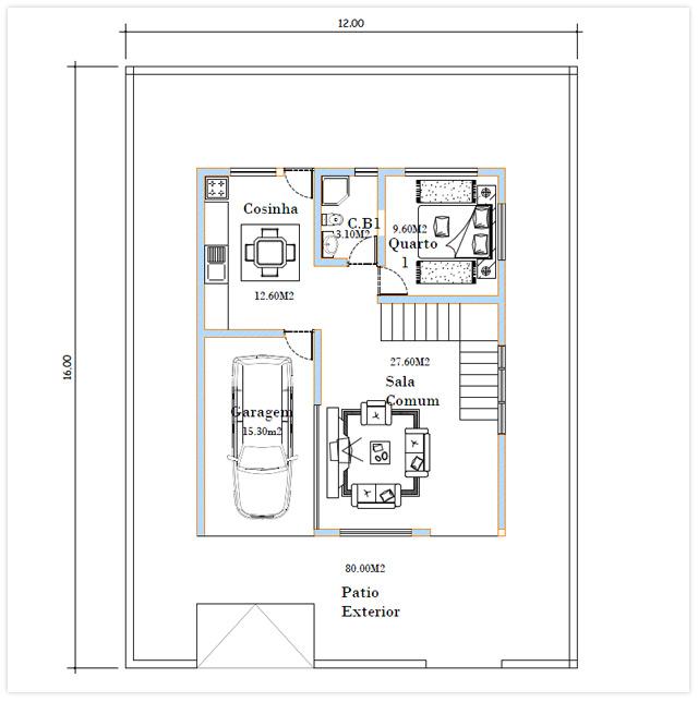 Plan du RDC Villa Caravela Cap Vert