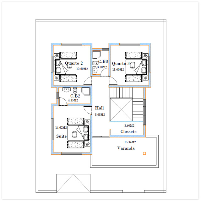 Plan du 1er étage Villa Caravela Cap Vert